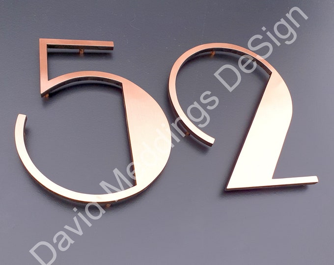 "Large Art Deco  floating numbers in copper 9""/228mm high Polished, hammered, brushed or green Park Lane font with some discreet seams t2"