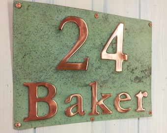 "House Sign Address Plaque in Real Copper 3"" numbers and 2"" letters polished/laquered and patinated, this is a 2 x item sign d"