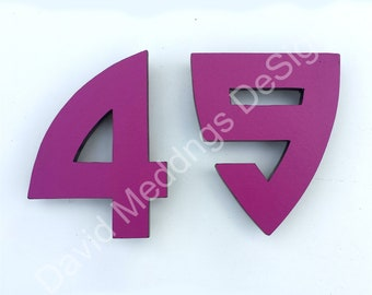 "Large coloured Architectural Arts and Crafts House numbers 9""/228mm high in Bala font d"