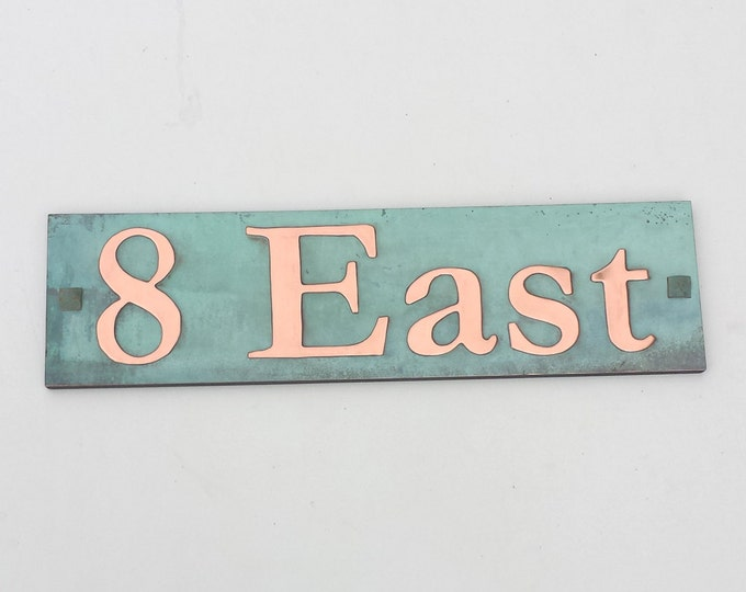 "Upcycled gift House Address Plaque in Green Copper 2""/50mm high characters in Garamond font, plywood backed d"