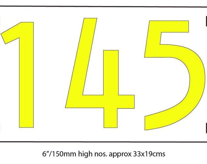 "Large floating Mission Mackintosh house numbers on backboard  in polished, brushed or hammered copper 6""/150 mm d5u"