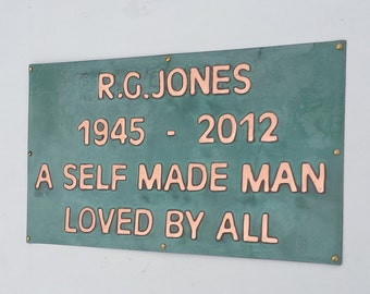 """Memorial grave plaque pet name sign marker in polished and patinated  copper 1"""" high Antigoni  d"""