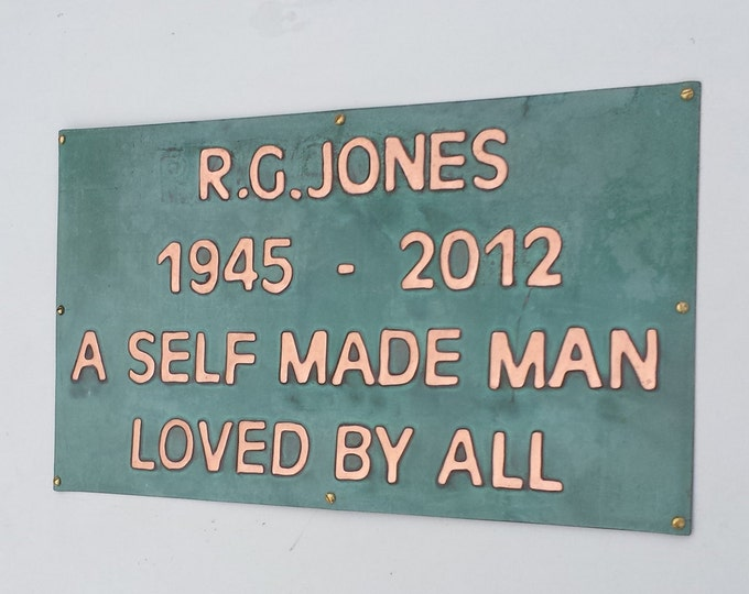 Memorial plaque pet, name sign , grave marker in polished and patinated  copper, up to 45 letters of your choice