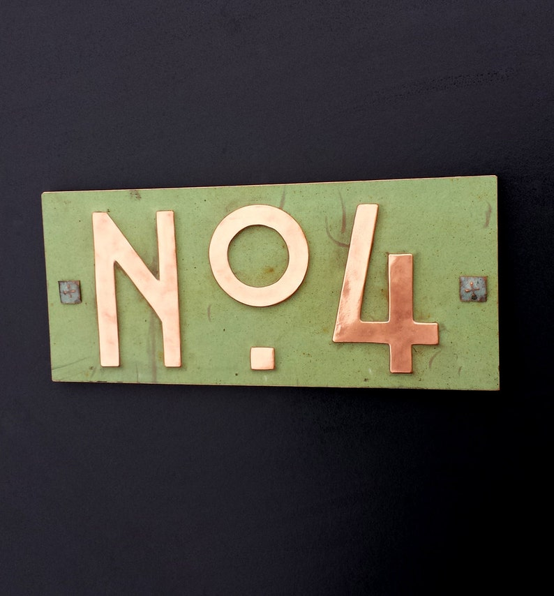 Mission Mackintosh style green copper sign with plywood back image 0