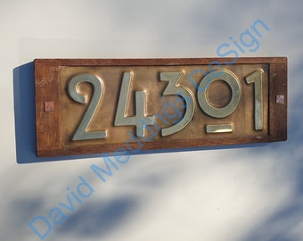 """Brass and Oak framed  Mission Mackintosh Style address plaque 5x nos 3""""/75mm or 4""""/100mm high  d"""