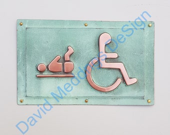 """Copper Baby changing and Wheelchair user disabled toilet lavatory sign 4.2""""/105mm high in patinated or hammered finish d"""