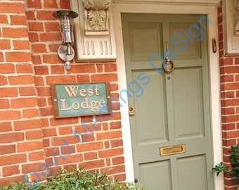 """Traditional House Sign Name sign 2x lines in Oak and Copper 3""""/75 mm high letters in Garamond font Shp"""