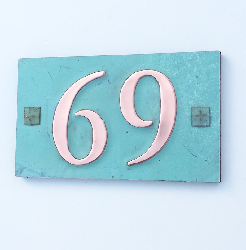 Copper house plaque with plywood back with easy screw fixing image 0