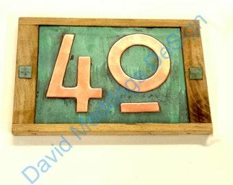 "Copper address plaque in Mission Mackintosh style, Oak framed 2x nos 3""/75mm or 4""/100mm Shp"