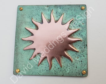 """Sun star solar astronomy copper plaque in hammered or green copper 3.25""""/82mm square indoor or out d"""