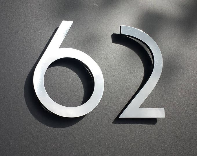 "Polished aluminium 3D 6"" high house sans serif numbers in Grenadier font,   marine lacquered with floating standoff g"