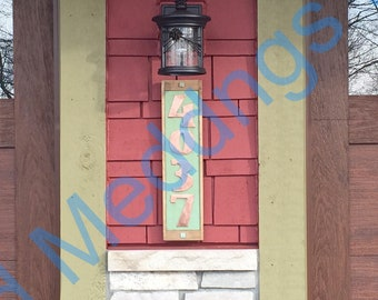 "Art Deco Copper number plaque with limed oak frame 4x  3""/75mm or 4""/100mm high d"