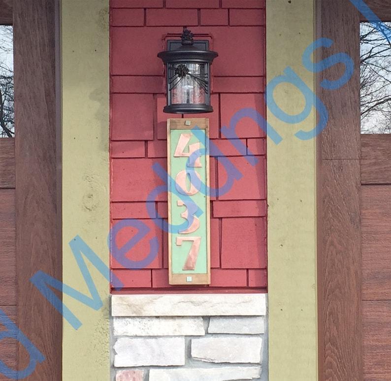 Art Deco Copper number plaque with limed oak frame 4x image 0