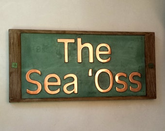 """Copper letters plaque and Oak frame House Sign Names one or two lines 3""""/75 mm high in Antigoni d"""
