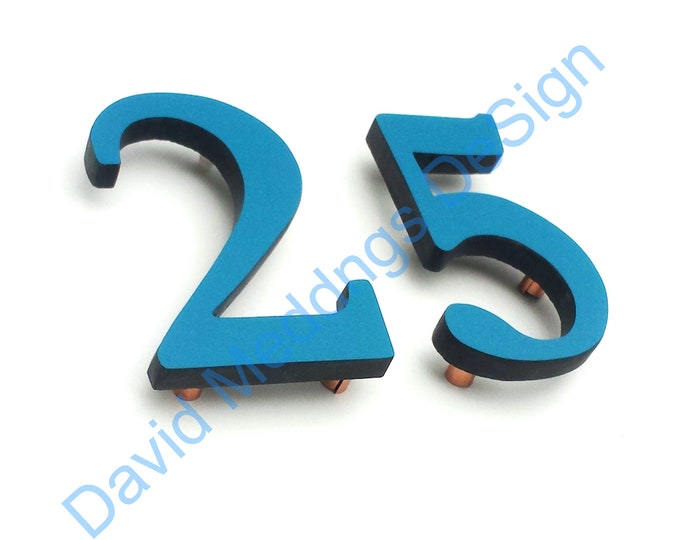 """Upcycled gift coloured House numbers floating in 9""""/228mm high  Garamond font dS"""