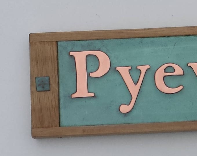 "Traditional House Sign Name sign in Oak and Copper, 2""/50mm  high letters in Garamond font g"
