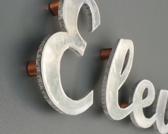 "Written text Script House sign in polished aluminium 3""/75mm high, sign locators for easy installation g"