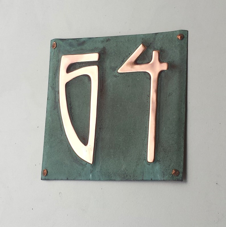 Art Nouveau wall sign metal Copper address Plaque numbers 1  image 0