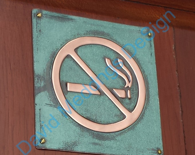 """No Smoking sign Plaque in patinated or hammered copper 4.2""""/105mm square tS"""