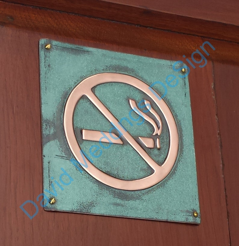 No Smoking sign Plaque in patinated or hammered copper image 0