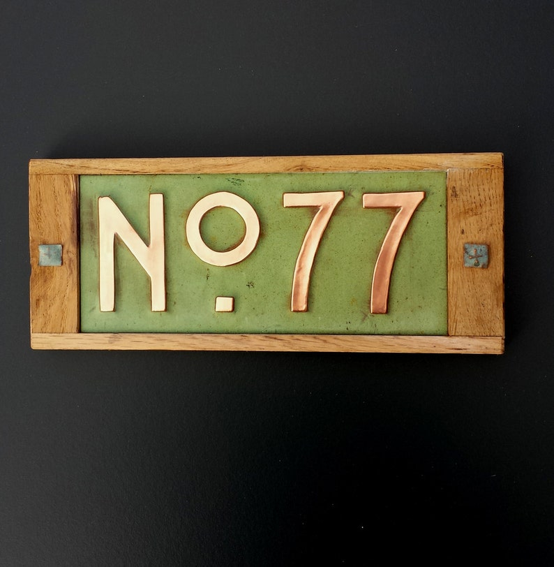 Mission Mackintosh Custom House plaque in copper with oak image 0
