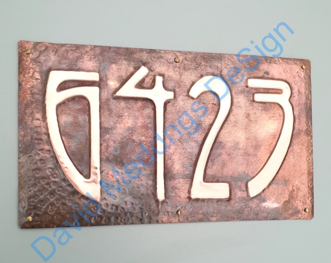 """Art Nouveau wall sign metal Copper address Plaque numbers 1 - 6x nos 3""""/75mm, 4""""/100mm high Shp"""