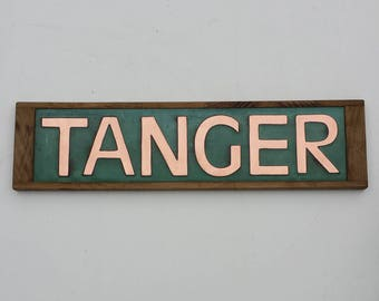 "Modern House Sign Names Oak and green Copper in CAPITALS 3""/75 mm high Antigoni d"