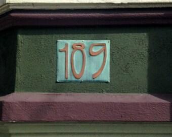 "Art Nouveau Copper house number Plaque 6""/150mm high other fonts available d"