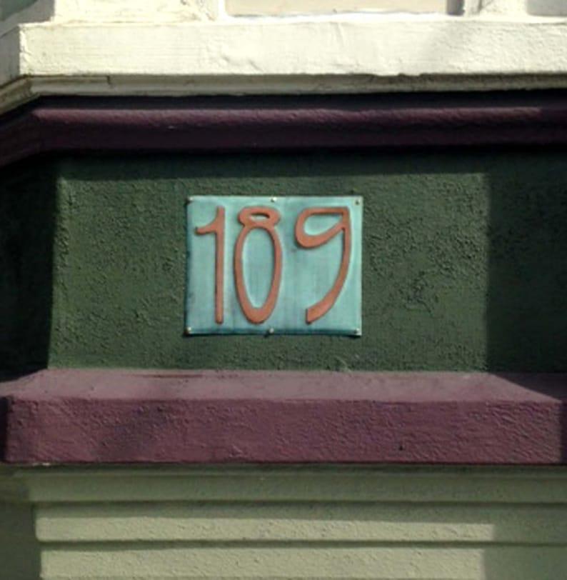 Art Nouveau Copper house number Plaque 6/150mm high image 0