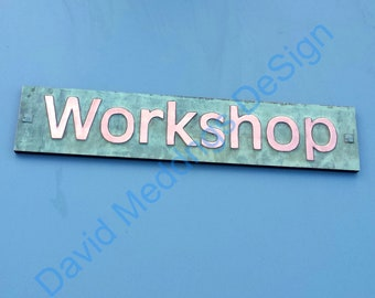 """Green Copper Sign name house Plaque on plywood in 3"""" Antigoni for brick stucco wood fixing dS"""