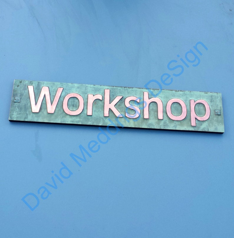 Green Copper Sign name house Plaque on plywood in 3 image 0