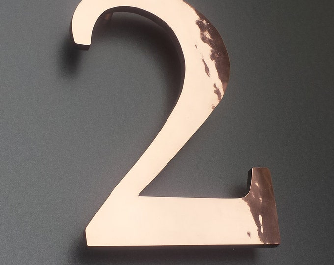 "Polished copper 3D 9""/228mm high house serif numbers in Garamond,   marine lacquered with floating standoff g"