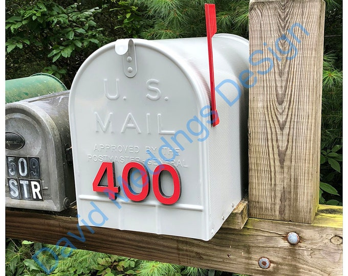 """Coloured Mailbox House numbers Modern contemporary 3""""/75mm high in Antigoni font tape option tS"""