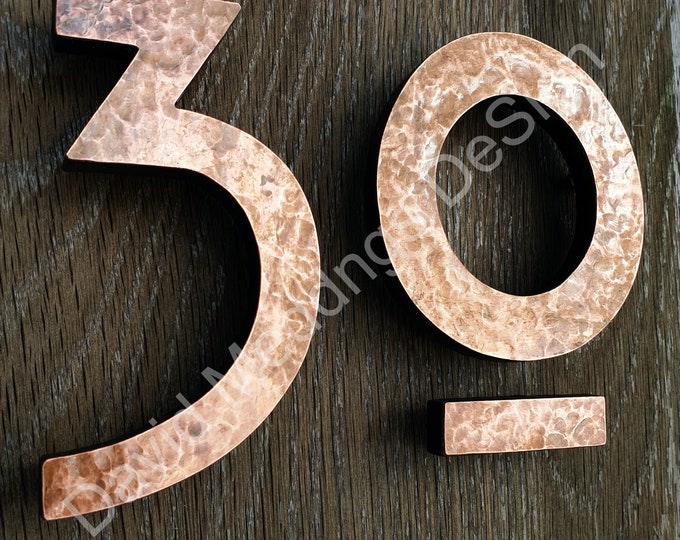 """Large Mission Mackintosh style floating numbers in copper, 9""""/228mm high in polished, hammered or brushed, some discreet seams t5S"""