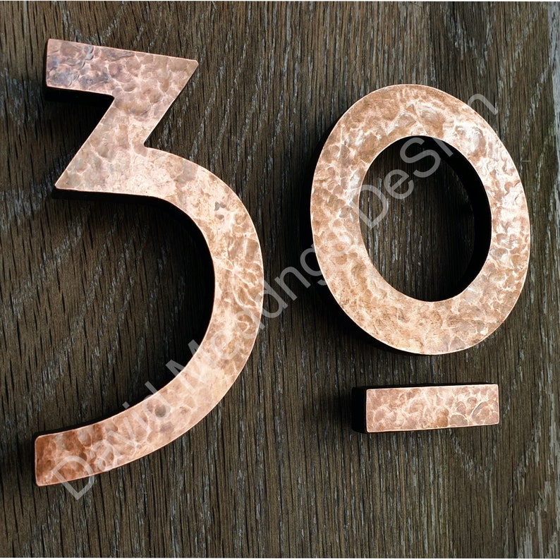Large Mission Mackintosh style floating numbers in copper image 0