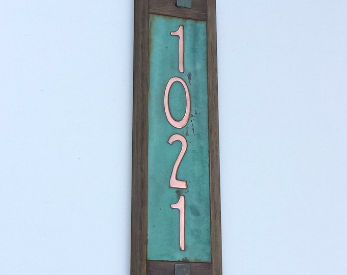 """Art Nouveau Copper House plaque with oak frame upcycled gift -  2""""/50mm high numbers d"""