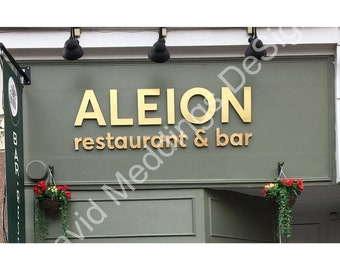Shop sign Cafe Store commercial signs from your graphics in floating copper or brass  d