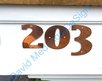 """Art Deco style Copper numbers  polished, hammered or brushed, 3""""/75mm or 4""""/100mm high East Market  font tS"""