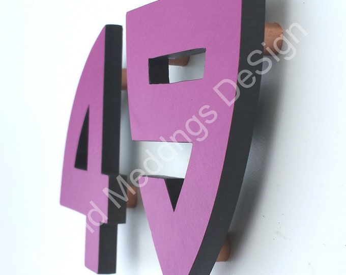 """Arts and Crafts coloured floating House numbers in virgin cladding material 4""""/100mm high in Bala font dS"""