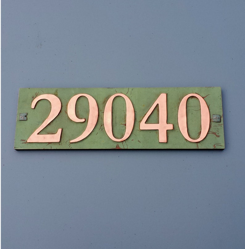 Boho outdoor decor Copper House address plaque with plywood image 0