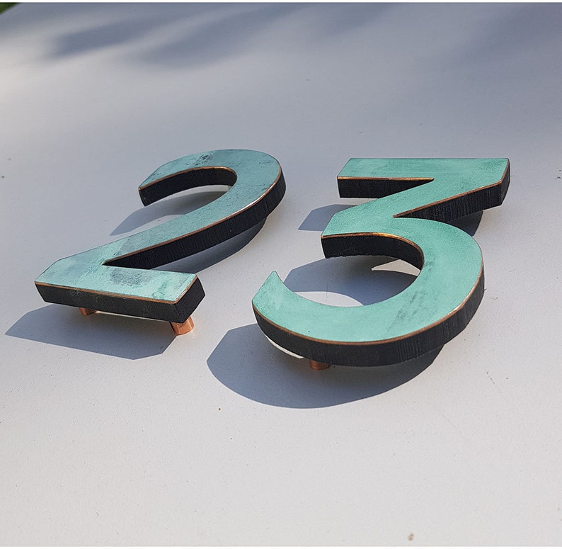 Modern green hammered or brushed copper House numbers image 0