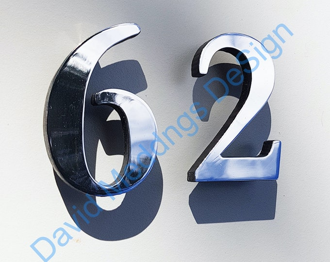 """Traditional floating aluminium faced House numbers  3""""/75mm or 4""""/100mm high Garamond in polished or brushed finish uS"""