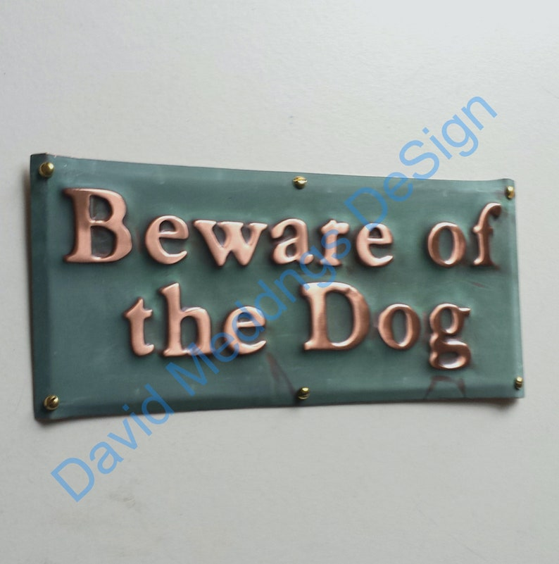 Beware of the Dog sign plaque in hammered or patinated copper image 0