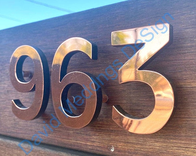 """House numbers  in polished  Copper floating  6""""/150 mm high in Antigoni font u"""