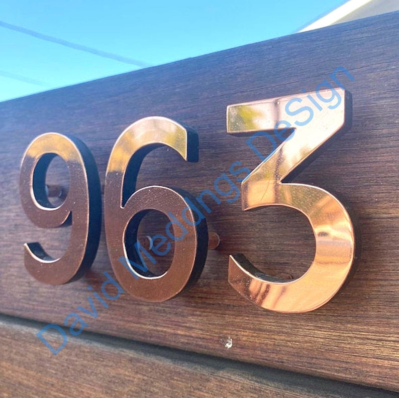 House numbers  in polished  Copper floating  6/150 mm image 0