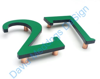 """Upcycled eco gift Coloured House floating numbers 4""""/100mm high in Garamond font dS"""