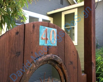 """Large Upcycled Copper Numbers  Address Plaque 2x nos. 6""""/150mm  high lacquered in Garamond S"""
