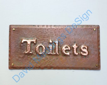 """Toilets lavatory washroom copper notice sign Plaque in 1""""/25mm high Garamond in hammered or patinated  sheet g"""