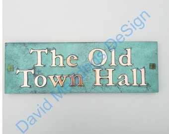 """Copper House Address Plaque on 2x lines 2""""/50mm high characters in Garamond, plywood backed Shp"""