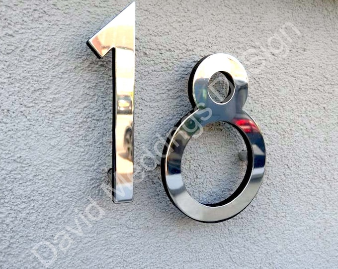 """Modern style floating numbers in brass 6""""/150mm high Polished, hammered or brushed Grenadier font tuS"""